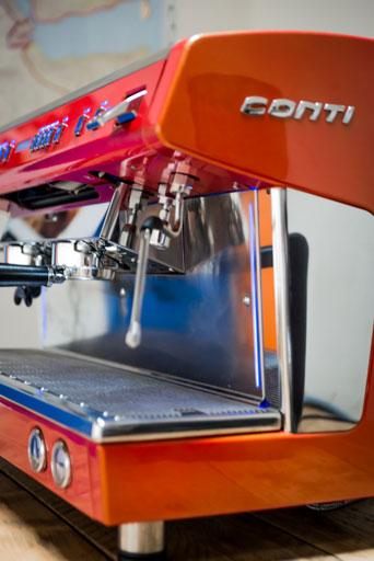 Conti X-One TCI espresso machine (Red) Side View