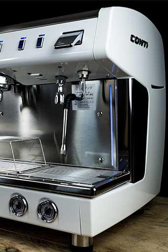 Conti X-One TCI espresso machine (white) Front View right hand side 2